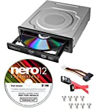 Lite-On 24X SATA Internal DVD+/-RW Drive Optical Drive IHAS124-14 + Nero 12 Essentials Burning Software + Sata Cable Kit