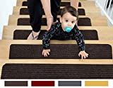 EdenProducts Patent Pending Non Slip Carpet Stair Treads, Set of 15, Rug Non Skid Runner for Grip and Beauty. Safety Slip Resistant for Kids, Elders, and Dogs. 8' X 30', Brown, Pre Applied Adhesive