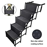 YEP HHO 5 Steps Upgraded Folding Pet Stairs Ramp Lightweight Portable Dog Cat Ladder with Waterproof Surface Great for Cars Trucks SUVs(Black)