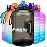 BuildLife Gallon Motivational Water Bottle Wide Mouth with Time Marker/Flip Top Leakproof Lid/One Click Open/Large BPA Free Capacity for Fitness Goals and Outdoor(Black, 1 Gallon)