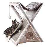 TRIXIE Miguel Fold and Store Cat Hammock | Dangling Pom Poms | Scratching Pad | Cat Cave
