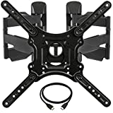 InstallerParts Corner TV Wall Mount for Most 23'-55' LED LCD Plasma Flat Screen Monitor up to 132 lb VESA 400x400 with Full Motion Swivel Articulating Dual Arm, HDMI Cable