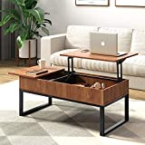 WLIVE Wood Coffee Table with Adjustable Lift Top Table, Metal Frame Hidden Storage Compartment for Home Living Room