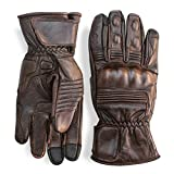 Premium Leather Motorcycle Gloves (Brown) by Indie Ridge Mobile Touchscreen Full Gauntlet (X-Large)
