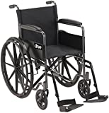 Drive Medical DFL19-RD Fly Lite Ultra Lightweight Folding Transport Wheelchair with Swing-Away Footrests, Red, Black