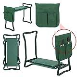 LEMY Garden Kneeler Seat Multiuse Portable Garden Bench Garden Stools Foldable Stool with Tool Bag Pouch EVA Foam Pad