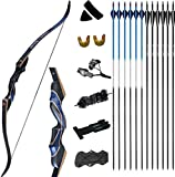 D&Q Hunting Bow and Arrow for Adults Recurve Bows Archery Set Adult Handmade Bow 54' 30-50 lbs LongBow Kit with Carbon Arrows Right Hand Outdoor Hunting Shooting (40lbs)