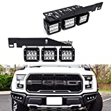 iJDMTOY LED Pod Light Fog Lamp Kit Compatible With 2017-up Ford F150 Raptor, Includes (6) 24W High Power 2x3 CREE LED Cubes, Lower Bumper Opening Area Mounting Brackets & On/Off Switch Wiring Kit
