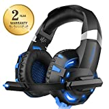 WILLNORN K2 Gaming Headset with Mic Noise Cancelling Over Ear Headphones for PC, PS4, Controller, Laptop, LED Light, Stereo Sound with Bass (Blue)