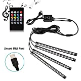 Car LED Strip Lights - SurLight 4pcs 48 LED Multicolor Music Car Interior Atmosphere Lights, USB LED Strip for Car TV Home with Sound Active Function, Wireless Remote Control and Smart USB Port