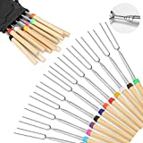 Marshmallow Roasting Sticks Wooden Handle Set of 12 Smores Skewers Telescoping Forks 32 inch with Portable Bag for Hot Dog Campfire Camping Stove BBQ Tools