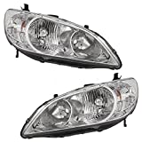 Headlights Headlamps Driver and Passenger Replacements for 2004-2005 Honda Civic 33151-S5A-A51 33101-S5A-A51