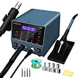 Durable 2 in 1 Hot Air Rework Gun Station and Soldering Iron Station 800W with PID Smart Temperature Control,Sleep Function,Digital Display,Small Noisy,Rapid Heat-Up,°F /°C Switch RS2