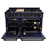 Thor Kitchen 48 Inch Gas Range 6 Burners Cooktop 6.7 cu.ft Oven Black Steel - HRG4808-BS