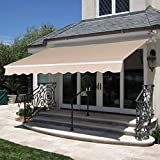 Best Choice Products 98x80in Retractable Awning, Aluminum Polyester Sun Shade Cover for Patio, Balcony w/UV & Water-Resistant Fabric and Crank Handle - Beige