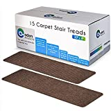 """EdenProducts Non-Slip Carpet Stair Treads, 15 Count, 8""""x30"""", Mocha, Slip Resistance Indoor Carpet Runner Mats for Wooden Steps, Safety for Pets and Kids"""