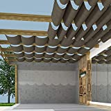 TANG Pergola Shade Cover Retractable Replacement Awning Canopy Shade Cover for Deck Porch Patio Slide Hang Down Wave Shade Cover Removable with Hardware Wire Cable Brown 4'x16'