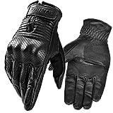 INBIKE Motorcycle Genuine Leather Gloves Men's Protective Motorbike Gloves Black Large
