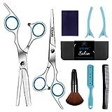 Sirabe 9 PCS Hairdressing Scissors Kits Stainless Steel Hair Cutting Shears Set Thinning/Texturizing Scissors Bang Hair Scissor Professional Barber/Salon/Home Shear Kit For Men Women Pet