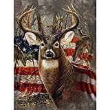 DIY 5D Diamond Painting by Number Kits,Full Drill Crystal Rhinestone Embroidery Pictures Arts Craft for Home Wall Decoration Deer 11.8×15.7Inches
