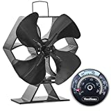 VonHaus 4-Blade Heat Powered Wood Stove Fan with Temperature Gauge - Ultra Quiet Fireplace Wood Burning Eco Fan for Efficient Heat Distribution – Black