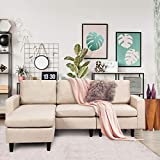Giantex Convertible Sectional Sofa Couch w/Back Cushion, L-Shaped Sofa Couch Plus Reversible Chaise, Linen Fabric Loveseat Couch for Small Space (Gray)