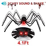 Y- STO Halloween Decorations 50' Giant Spider, Black Hairy Spider with LED Eyes/Horrible Sound,for Outdoor Yard Haunted House Party Halloween Decor Supplies