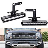 iJDMTOY Lower Bumper LED Light Bar Fog Lamp Kit Compatible With 2010-2014 Ford F150 Raptor, Includes (2) 50W High Power CREE LED Lightbars, Lower Bumper Mounting Brackets & On/Off Switch Wiring