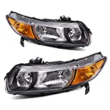 AUTOSAVER88 Headlight Assembly Fit for 2006-2011 Honda Civic Coupe OE Style Replacement Headlamps Black Housing with Amber Park Lens