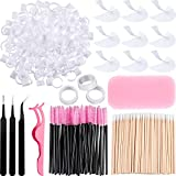 374 Pieces Eyelash Extension Kit Includes Disposable Eyelash Mascara Brushes Wands Stainless Steel Eyelash Tweezers Cotton Swabs Eye Pad Stickers, Cup Rings, Tapes,Silicone Eyelash Pad