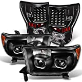 For [Dual LED Halo Ring] 07-13 Tundra Pickup Truck Black Projector Headlights + LED Tail light Combo