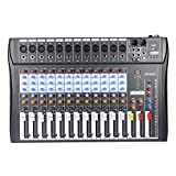 ammoon 12 Channels Mixer Mic Line Audio Mixing Console USB XLR Input 3-band EQ 48V Phantom Power with Power Adapter