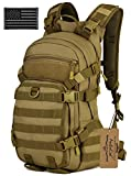 ArcEnCiel 25L Tactical Motorcycle Cycling Backpack Military Molle Pack Helmet Holder with Patch - Rain Cover Included (Coyote Brown)