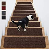Stair Treads Non-Slip Carpet Indoor Set of 14 Brown Carpet Stair Tread Treads Stair Rugs Mats Rubber Backing (30 x 8 inch),(Brown, Set of 14)