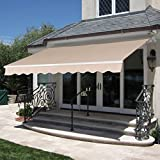 Best Choice Products 98x80-inch Retractable Aluminum Polyester Patio Sun Shade Awning Cover w/UV- & Water-Resistant Fabric and Crank Handle - Beige