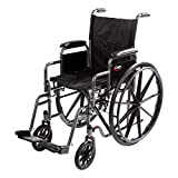 """Carex Wheelchair with Large 18"""" Padded Seat - Wheel Chair with Adjustable and Removable Swing-Away Footrests - Folding Chair for Compact Storage, 250lb Capacity, Black"""
