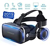 [ 2019 New Version ]WorldSeng VR Headset,VR Headset with Stereo Headphone, 3D Glasses Virtual Reality Headset for Games & Movies,Lightweight Virtual Reality,Cardboard For iPhone and Android Smartphons