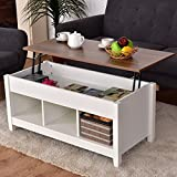 Casart Coffee Table with Hidden Storage Compartment, Display Shelves, Lift Tabletop for Living Room, Bedroom, Home&Office Furniture Retro Central Table Lift Top Tea Dining Table (White+Brown)