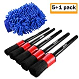 Manfiter Detailing Brush Set, Auto Detail Brush Set with a Car Wash Mitt for Car Motorcycle Automotive Cleaning Wheels, Dashboard, Interior, Exterior, Leather, Air Vents, Emblems, Detailing Brush Kit