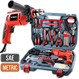 Hi-Spec 300W AC Corded Power Drill & 130pc Hand Tool Set Combo Kit with Hacksaw, Pliers, Claw-Hammer, Wrench, Box Cutter, Hex Keys, Screwdrivers, Socket & Driver Bits, Tape Measure in Storage Case