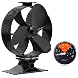 GALAFIRE [ 2 Years 122°F Start Silent Heat Powered Wood Stove Fan 4 Blade Black Small for Gas/Pellet/Wood/Log Burning Stoves + Thermometer