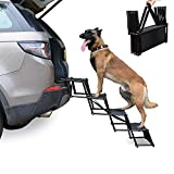 Heeyoo Upgraded Nonslip Car Dog Steps, Portable Metal Fram Large Dog Stairs for High Beds, Trucks, Cars and SUV, Lightweight Folding Pet Ladder Ramp with Wide Steps can Support 150 Lbs (Black,4steps)