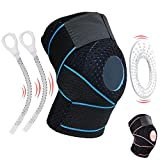 Knee Brace Knee Support for Meniscus Tear,Arthritis,ACL,LCL,MCL Injury Recovery,Running,Cycling,Basketball with Patella Stabilizer for Men Women (Black Blue)