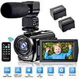 Video Camera Camcorder YouTube Vlogging Camera FHD 1080P 30FPS 24MP 16X Digital Zoom 3' LCD 270 Degrees Rotatable Screen Digital Camera Recorder with Microphone,Remote Control,2 Batteries