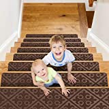 CrystalMX Non-Slip Carpet Stair Treads, Anti Moving Grip and Beauty Rug Tread Safety for Kids Elders and Dogs, 8' X 30' (Brown, Set of 15)
