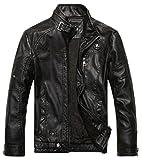 Chouyatou Men's Vintage Stand Collar Pu Leather Jacket (X-Large, Black)