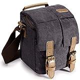S-ZONE Waterproof Camera Bag Canvas Leather Trim Compatible with DSLR SLR Camera Messenger Bag