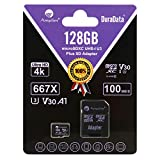 Amplim 128GB Micro SD Card Plus Adapter Pack, 128 GB MicroSD SDXC Class 10 Pro U3 A1 V30 Extreme Speed 100MB/s UHS-I UHS-1 TF XC MicroSDXC Memory Card for Cell Phone, Nintendo, Galaxy, Fire, Gopro
