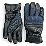Denim & Leather Motorcycle Gloves (Black) With Mobile Touchscreen by Indie Ridge (Large)