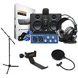 PreSonus AudioBox Studio Ultimate Deluxe Hardware/Software Recording Bundle with Headphone Holder, Tripod Microphone Stand & Pop Filter Kit